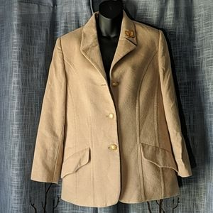 Vintage Mondi Tan Wool Blend Blazer Coat Butterfly